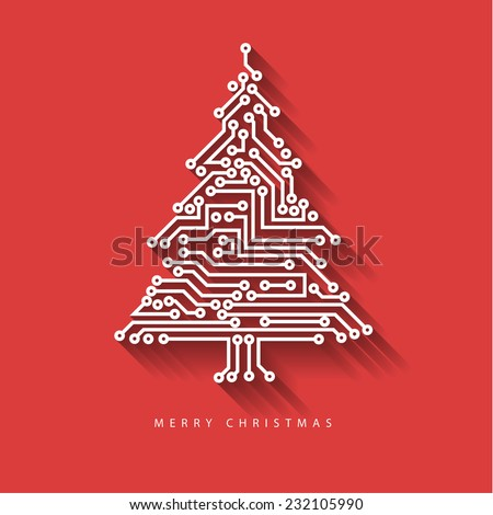 Vector christmas tree from digital electronic circuit on red background with long shadow - stock vector