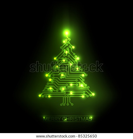 Vector christmas tree from digital electronic green circuit and lights - stock vector