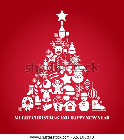 Vector Christmas Tree made of icons and symbols Illustration - stock vector