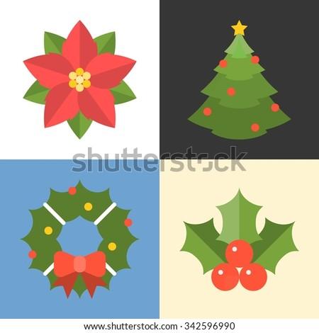 Vector Christmas tree, mistletoe, poinsettia for decoration, flat design - stock vector