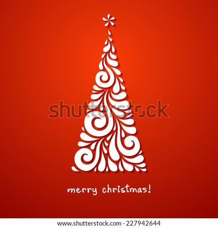 Vector Christmas tree of swirl shapes. Original modern design element. Greeting, invitation cute card. Simple decorative illustration for print, web - stock vector