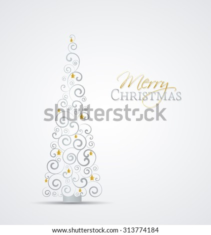 Vector Christmas tree on a gray background - stock vector
