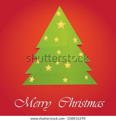 vector christmas tree on red background. merry christmas illustration. - stock vector