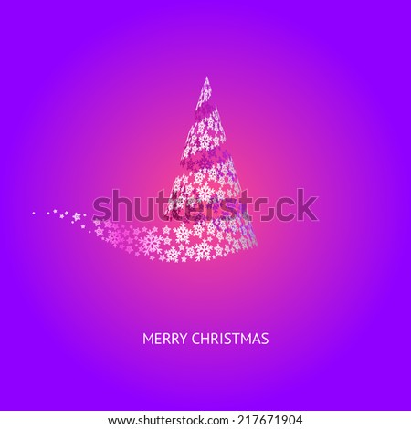 Vector Christmas Tree Purple Background with Snowflakes - stock vector