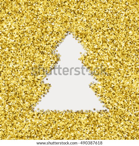 Vector Christmas tree symbol  surrounded  by tiny golden stars. Card design for holidays.