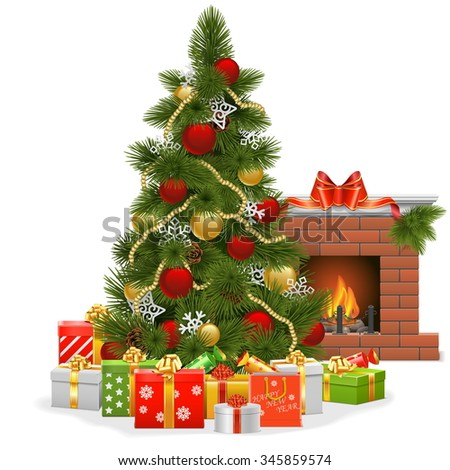 Vector Christmas Tree with Fireplace - stock vector