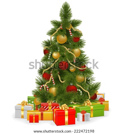 Vector Christmas Tree with Gifts - stock vector