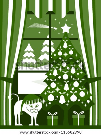 vector christmas tree with gifts and cat at window - stock vector