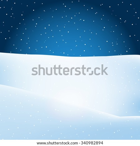 Vector Christmas winter evening landscape background. Place for text