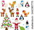 Vector Christmas Woodland and Forest Animals with Santa Claus and a Tree - stock vector