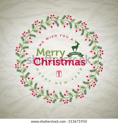 Vector Christmas wreath greetings. Elements are layered separately in vector file. - stock vector