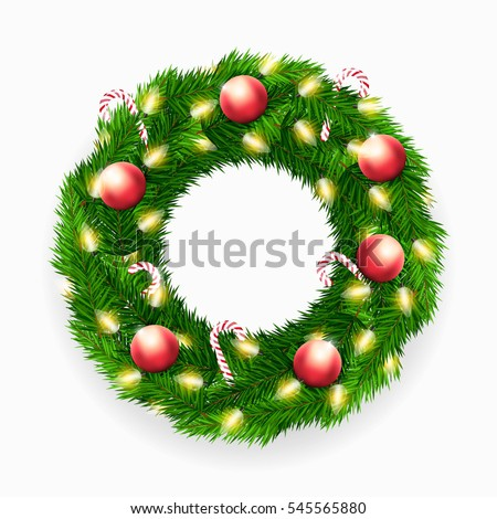 Vector Christmas wreath with candy canes, lights and decorations on white background