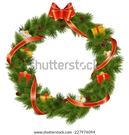 Vector Christmas Wreath with Gifts - stock vector