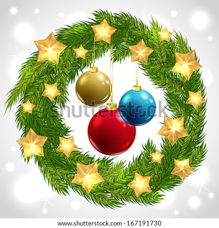 Vector Christmas wreath with golden stars and Christmas balls - stock vector