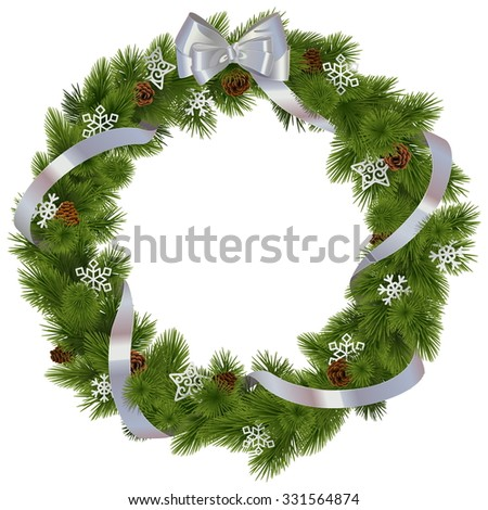 Vector Christmas Wreath with Snowflakes - stock vector