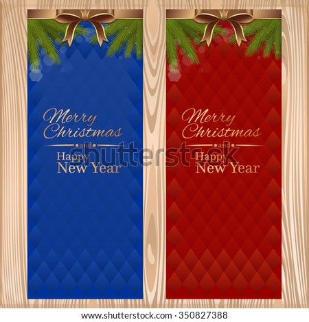 Vector christmassy card with ribbons, bows and fir branches on a wooden background. Merry Christmas and a Happy New Year. - stock vector