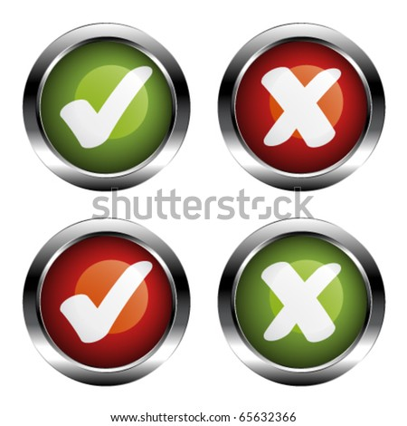 vector chrome checkmarks buttons - stock vector