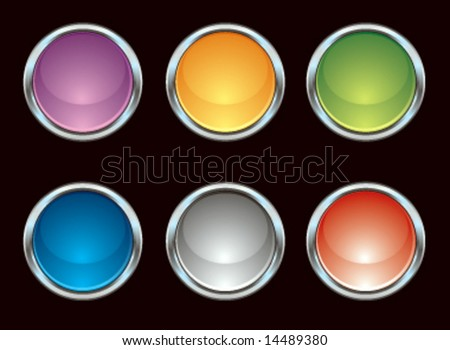 Vector chrome colorful internet icons - stock vector