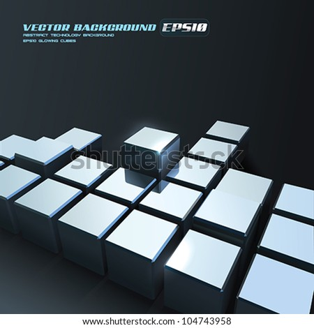 Vector Chrome Cubes Background - stock vector