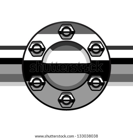 steering flange vector chrome termination flange pipe stock vector 133038038