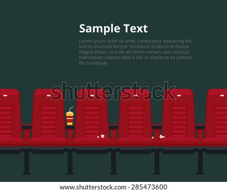 Vector cinema chairs poster with sample text in flat style. Theater event and auditorium, show and presentation - stock vector