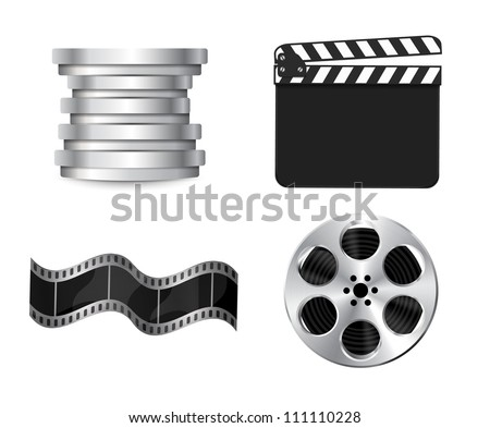 Vector cinema icons: film reel, stack of reels, film strip and clapboard - stock vector