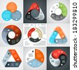 Vector circle and triangle infographics set. Template for diagram, graph, presentation and chart. Business concept with three options, parts, steps or processes. Abstract backgrounds. - stock