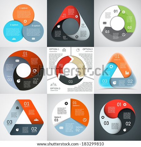 Vector circle and triangle infographics set. Template for diagram, graph, presentation and chart. Business concept with three options, parts, steps or processes. Abstract backgrounds. - stock vector