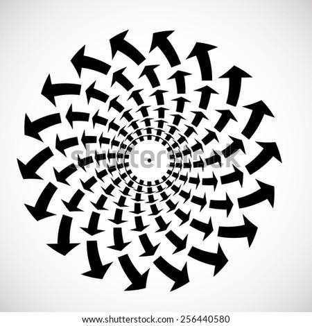 Vector Circle Arrows . Circular Logo . Spiral Icon with Arrows . Abstract Arrow Background  . - stock vector