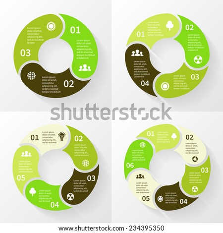 Vector circle arrows for eco infographic. Template for environmental care diagram, graph, ecology presentation and chart. Nature concept with 3, 4, 5, 6 options, parts, steps or processes. - stock vector