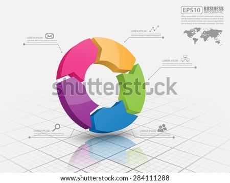 Vector circle arrows for infographic. - stock vector
