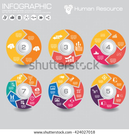 Vector circle arrows for infographic. Template for cycling diagram, graph, presentation and round chart. Business concept with 2, 3, 4, 5, 6, 7 options, parts, steps or processes. Abstract background. - stock vector