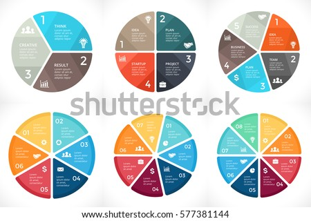 Vector circle arrows infographic, cycle diagram, graph, presentation pie chart. Business concept with 3, 4, 5, 6, 7, 8 options, parts, steps, processes. Infographics clean templates.