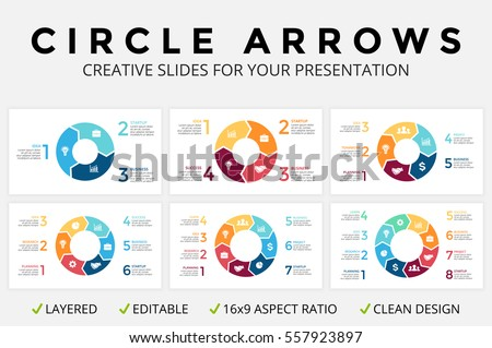 Vector circle arrows infographic, cycle diagram or graph, 16x9 slide presentation, pie chart. Business concept template with 3, 4, 5, 6, 7, 8 options, parts, step, processes. Clean flat simple graphic