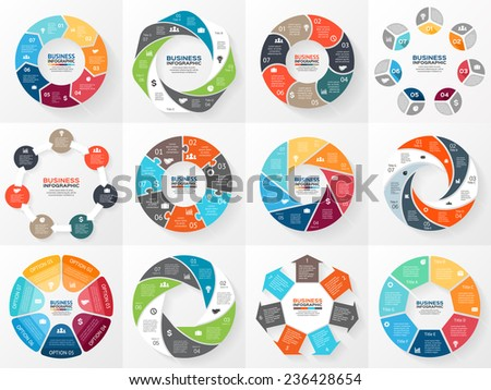 Vector circle arrows infographics set. Template for diagram, graph, presentation and chart. Business concept with 7 options, parts, steps or processes. Abstract background. - stock vector