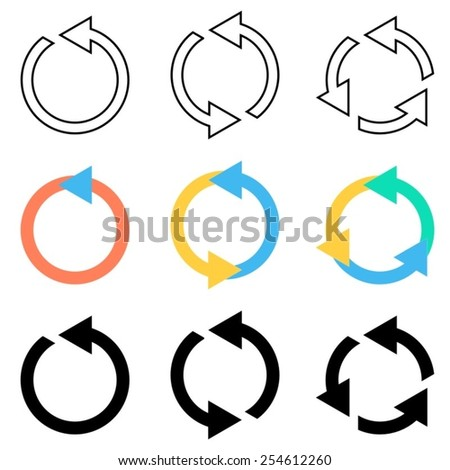 Vector circle arrows refresh reload recycle icons set - stock vector