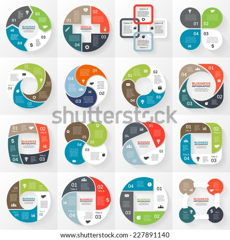 Vector circle arrows striped ribbons infographics set. Template for diagram, graph, presentation and chart. Business concept with 4 options, parts, steps or processes. Abstract background. - stock vector
