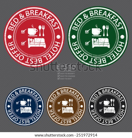 Vector : Circle Bed & Breakfast Hotel Best Offer Grunge Sticker, Rubber Stamp, Icon, Tag or Label - stock vector