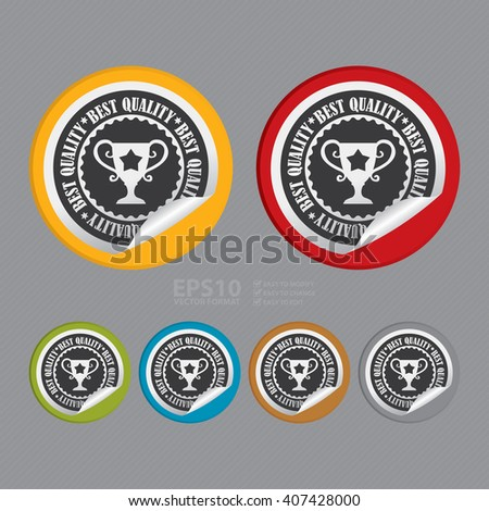 Vector : Circle Best Quality Product Label, Campaign Promotion Infographics Flat Icon, Peeling Sticker, Sign - stock vector
