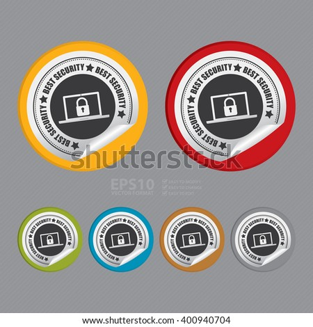 Vector : Circle Best Security Product Label Infographics Flat Icon, Peeling Sticker, Sign - stock vector