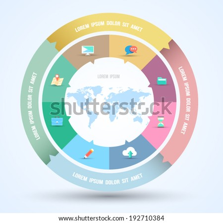Vector circle business concepts with flat icons / can use for infographic/loop business report or plan / modern template / education template / business brochure / system diagram - stock vector