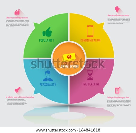 Vector circle business concepts with icons / can use for infographic / loop business report or plan / modern template / education template / business brochure / icons long shadows - stock vector