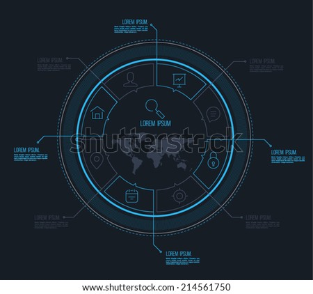 Vector circle business concepts with line icons / can use for infographic/loop business report or plan / modern template / education template / business brochure / system diagram - stock vector
