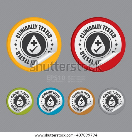Vector : Circle Clinically Tested Product Label, Campaign Promotion Infographics Flat Icon, Peeling Sticker, Sign - stock vector