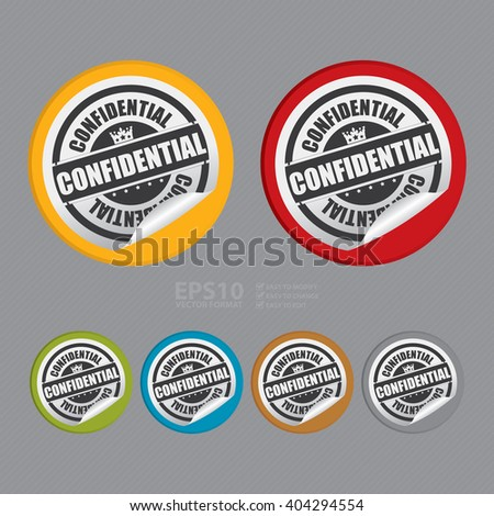 Vector : Circle Confidential Product Label, Campaign Promotion Infographics Flat Icon, Peeling Sticker, Sign