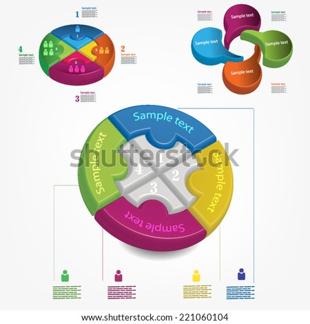 Vector circle 3d business diagram with icons, can use for infographic, modern template, business brochure - stock vector