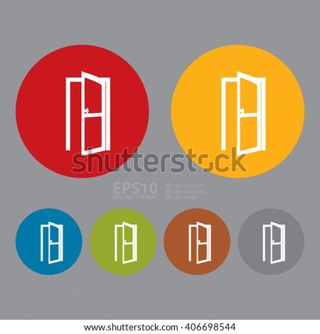 Vector : Circle Door Open Infographics Flat Icon, Sign  - stock vector