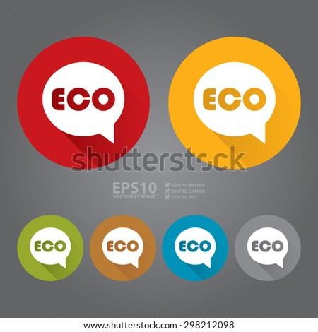 Vector : Circle Eco Flat Long Shadow Style Icon, Label, Sticker, Sign or Banner - stock vector