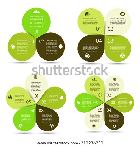 Vector circle eco infographics set. Template for diagram, graph, presentation and chart. Business concept with options, parts, steps or processes. Abstract background. - stock vector