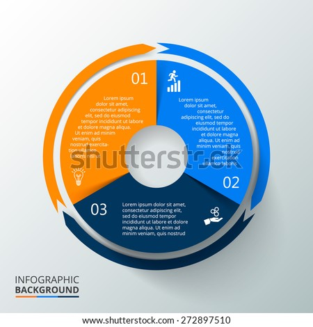 Vector circle element with long shadow for infographic. Template for cycling diagram, graph, presentation. Business concept with 3 options, parts, steps or processes. Abstract background - stock vector